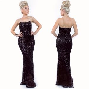Black Sequin Fitted Pageant Prom Homecoming Dress
